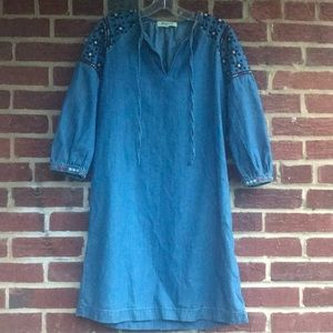 Madewell embroidered denim XS dress/tunic